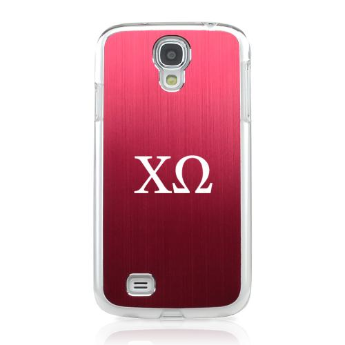 Chi Omega - Geeks Designer Line Laser Series Red Aluminum on Clear Case for Samsung Galaxy S4