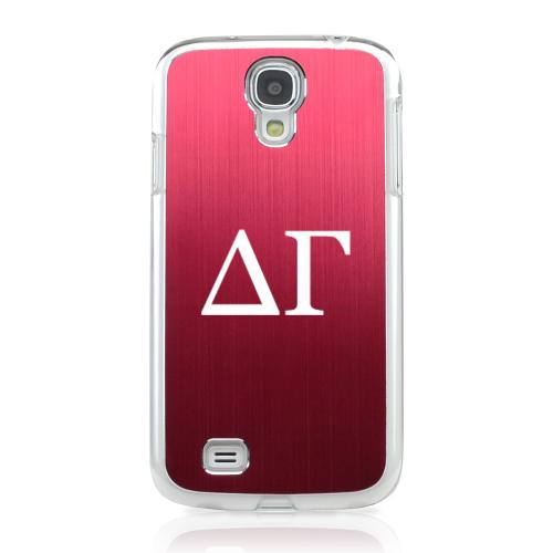 Delta Gamma - Geeks Designer Line Laser Series Red Aluminum on Clear Case for Samsung Galaxy S4
