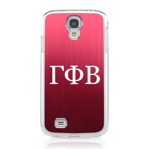 Gamma Phi Beta - Geeks Designer Line Laser Series Red Aluminum on Clear Case for Samsung Galaxy S4