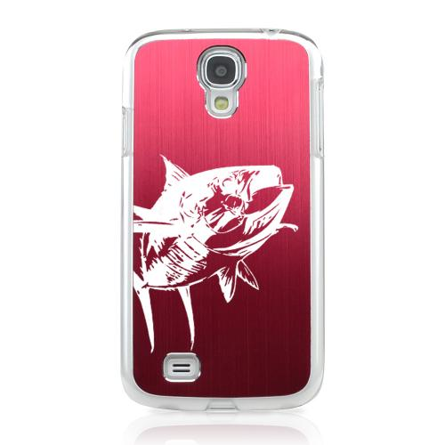 Yellowfin - Geeks Designer Line Laser Series Red Aluminum on Clear Case for Samsung Galaxy S4