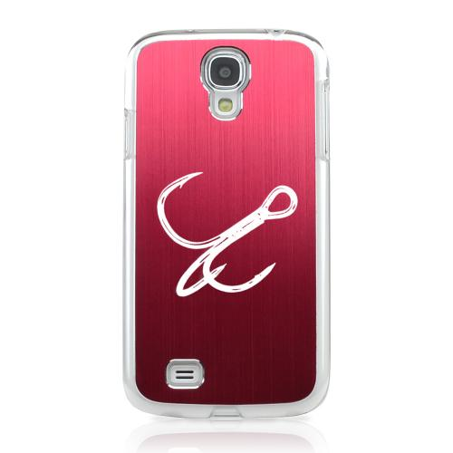 Fish Hook - Geeks Designer Line Laser Series Red Aluminum on Clear Case for Samsung Galaxy S4