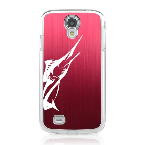Marlin - Geeks Designer Line Laser Series Red Aluminum on Clear Case for Samsung Galaxy S4