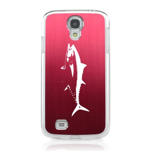Tuna - Geeks Designer Line Laser Series Red Aluminum on Clear Case for Samsung Galaxy S4