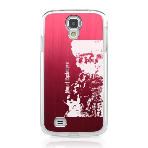 Mount Rushmore - Geeks Designer Line Laser Series Red Aluminum on Clear Case for Samsung Galaxy S4