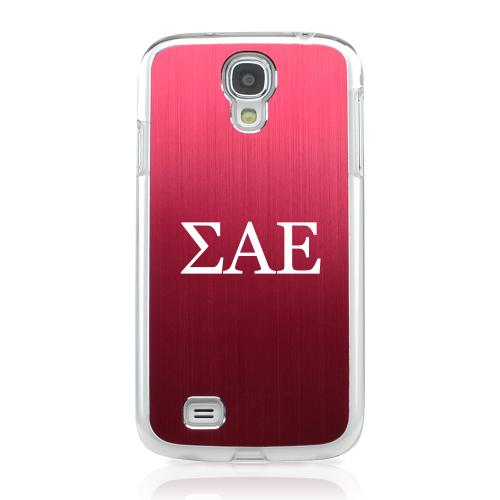 Sigma Alpha Epsilon - Geeks Designer Line Laser Series Red Aluminum on Clear Case for Samsung Galaxy S4