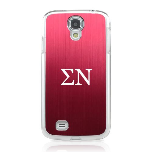 Sigma Nu - Geeks Designer Line Laser Series Red Aluminum on Clear Case for Samsung Galaxy S4