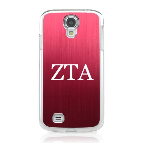 Zeta Tau Alpha - Geeks Designer Line Laser Series Red Aluminum on Clear Case for Samsung Galaxy S4