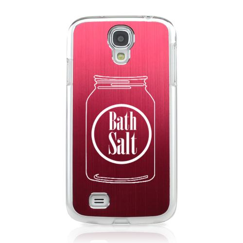 Bath Salt Jar - Geeks Designer Line Laser Series Red Aluminum on Clear Case for Samsung Galaxy S4