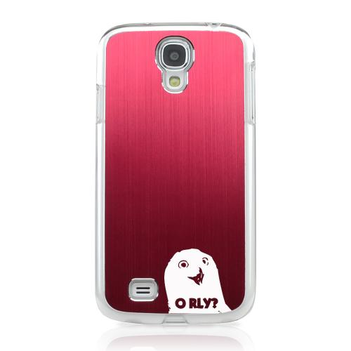 O RLY? - Geeks Designer Line Laser Series Red Aluminum on Clear Case for Samsung Galaxy S4