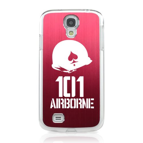 101st Airborne - Geeks Designer Line Laser Series Red Aluminum on Clear Case for Samsung Galaxy S4