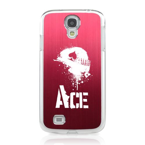 Ace Helmet - Geeks Designer Line Laser Series Red Aluminum on Clear Case for Samsung Galaxy S4