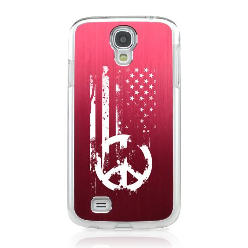 Grunge Flag - Geeks Designer Line Laser Series Red Aluminum on Clear Case for Samsung Galaxy S4