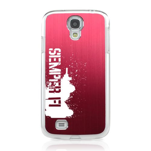 Marine - Geeks Designer Line Laser Series Red Aluminum on Clear Case for Samsung Galaxy S4