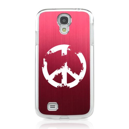 Grunge Peace Sign - Geeks Designer Line Laser Series Red Aluminum on Clear Case for Samsung Galaxy S4