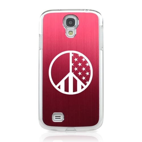 U.S. Peace Sign - Geeks Designer Line Laser Series Red Aluminum on Clear Case for Samsung Galaxy S4