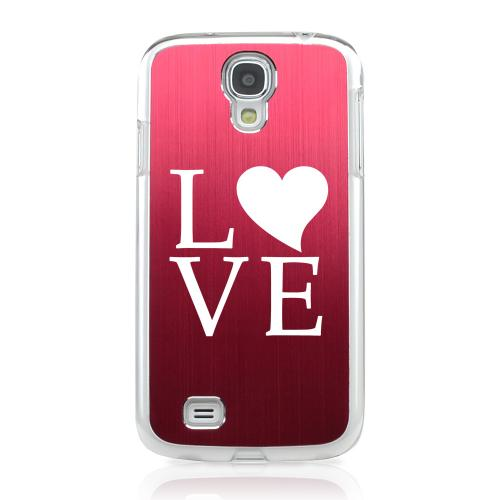 Love - Geeks Designer Line Laser Series Red Aluminum on Clear Case for Samsung Galaxy S4