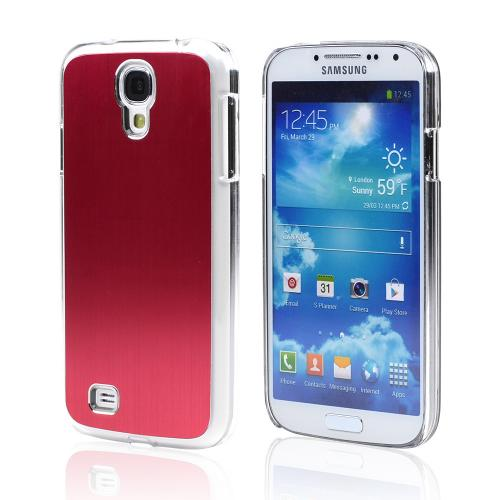 Red Aluminum Back on Clear Hard Case for Samsung Galaxy S4