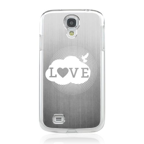 Love Cloud - Geeks Designer Line Laser Series Silver Aluminum on Clear Case for Samsung Galaxy S4