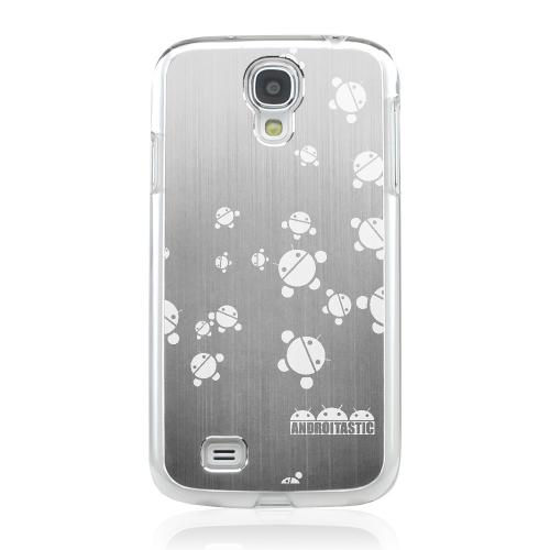 Bubble Bot Invasion - Geeks Designer Line Laser Series Silver Aluminum on Clear Case for Samsung Galaxy S4