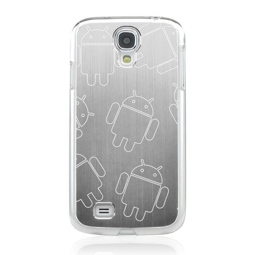 Androitastic - Geeks Designer Line Laser Series Silver Aluminum on Clear Case for Samsung Galaxy S4