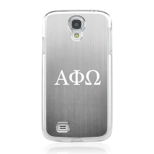 Alpha Phi Omega - Geeks Designer Line Laser Series Silver Aluminum on Clear Case for Samsung Galaxy S4