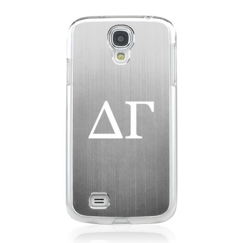 Delta Gamma - Geeks Designer Line Laser Series Silver Aluminum on Clear Case for Samsung Galaxy S4