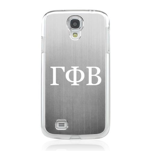 Gamma Phi Beta - Geeks Designer Line Laser Series Silver Aluminum on Clear Case for Samsung Galaxy S4
