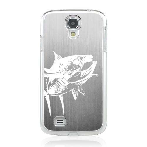 Yellowfin - Geeks Designer Line Laser Series Silver Aluminum on Clear Case for Samsung Galaxy S4