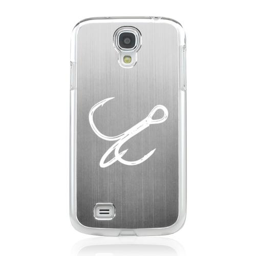 Fish Hook - Geeks Designer Line Laser Series Silver Aluminum on Clear Case for Samsung Galaxy S4