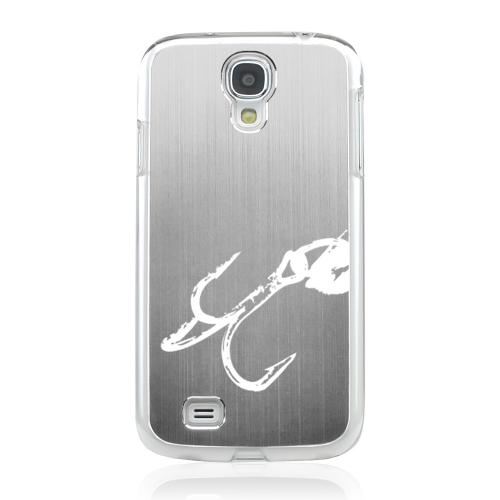 Fish Hook 2.0 - Geeks Designer Line Laser Series Silver Aluminum on Clear Case for Samsung Galaxy S4