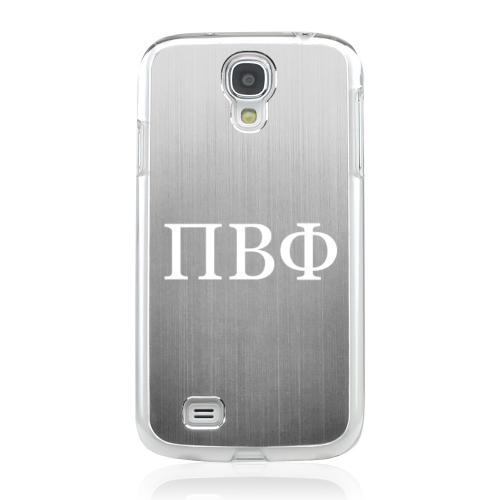 Pi Beta Phi - Geeks Designer Line Laser Series Silver Aluminum on Clear Case for Samsung Galaxy S4