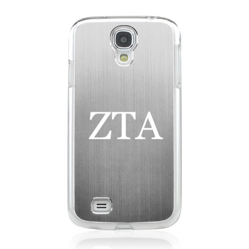 Zeta Tau Alpha - Geeks Designer Line Laser Series Silver Aluminum on Clear Case for Samsung Galaxy S4