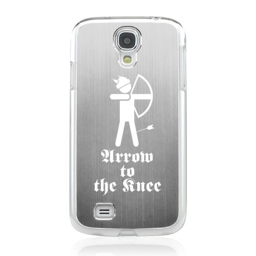 Arrow to the Knee - Geeks Designer Line Laser Series Silver Aluminum on Clear Case for Samsung Galaxy S4