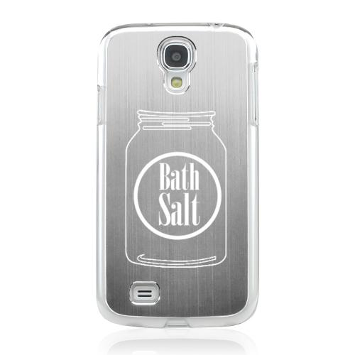 Bath Salt Jar - Geeks Designer Line Laser Series Silver Aluminum on Clear Case for Samsung Galaxy S4