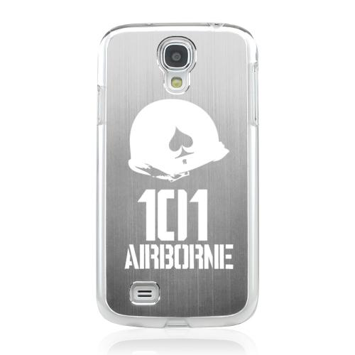 101st Airborne - Geeks Designer Line Laser Series Silver Aluminum on Clear Case for Samsung Galaxy S4