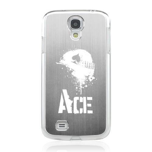 Ace Helmet - Geeks Designer Line Laser Series Silver Aluminum on Clear Case for Samsung Galaxy S4
