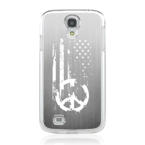 Grunge Flag - Geeks Designer Line Laser Series Silver Aluminum on Clear Case for Samsung Galaxy S4