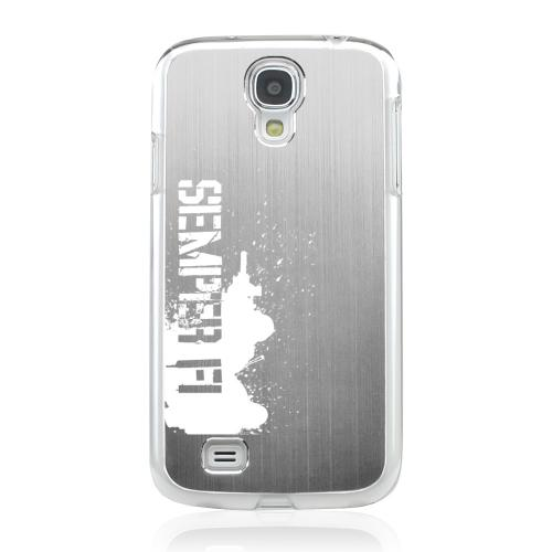 Marine - Geeks Designer Line Laser Series Silver Aluminum on Clear Case for Samsung Galaxy S4