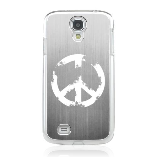 Grunge Peace Sign - Geeks Designer Line Laser Series Silver Aluminum on Clear Case for Samsung Galaxy S4