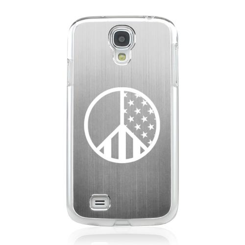 U.S. Peace Sign - Geeks Designer Line Laser Series Silver Aluminum on Clear Case for Samsung Galaxy S4