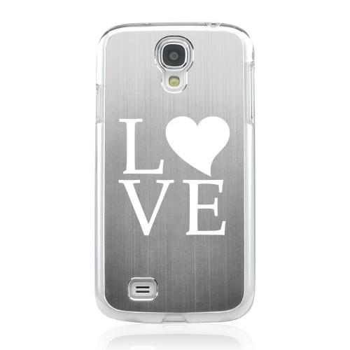 Love - Geeks Designer Line Laser Series Silver Aluminum on Clear Case for Samsung Galaxy S4