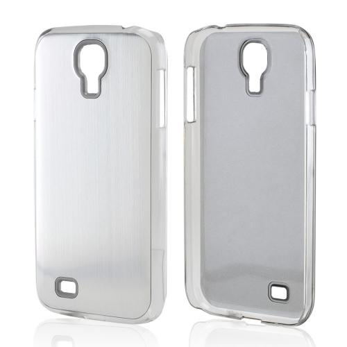 Silver Aluminum Back on Clear Hard Case for Samsung Galaxy S4