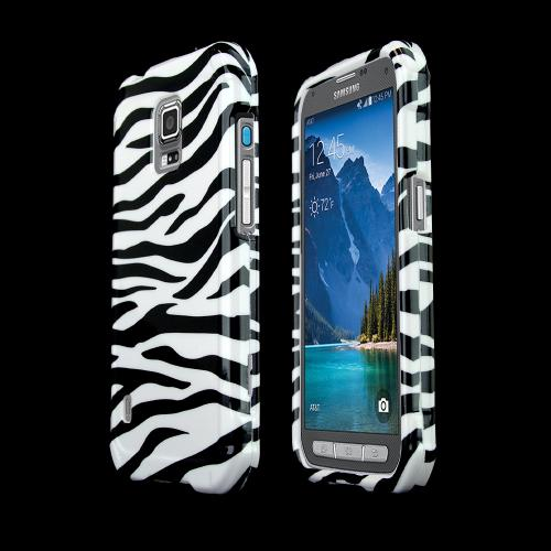 Black Zebra on White Samsung Galaxy S5 Active Hard Case Cover; Perfect fit as Best Coolest Design Plastic Cases