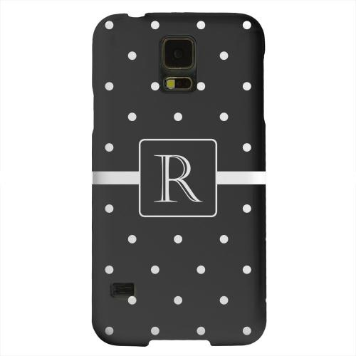 Geeks Designer Line (GDL) Samsung Galaxy S5 Matte Hard Back Cover - Monogram R on Classic Mini Polka Dots