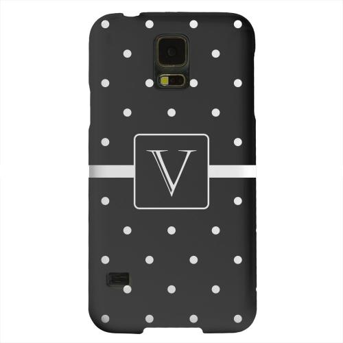 Geeks Designer Line (GDL) Samsung Galaxy S5 Matte Hard Back Cover - Monogram V on Classic Mini Polka Dots