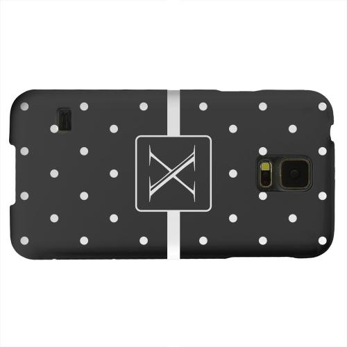 Geeks Designer Line (GDL) Samsung Galaxy S5 Matte Hard Back Cover - Monogram X on Classic Mini Polka Dots