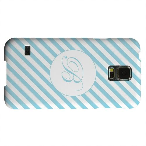 Geeks Designer Line (GDL) Samsung Galaxy S5 Matte Hard Back Cover - Calligraphy Monogram B on Mint Slanted Stripes