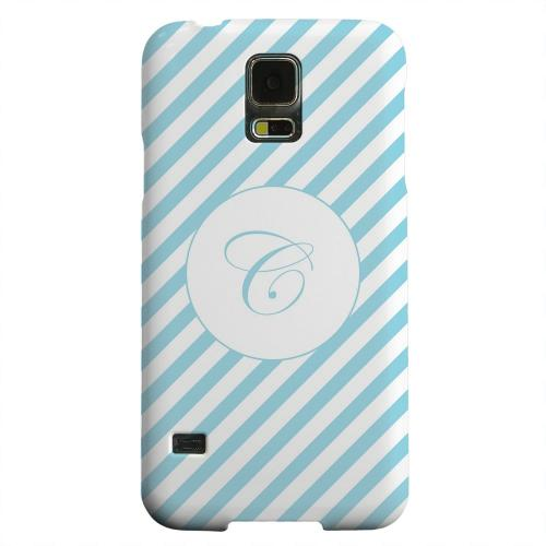 Geeks Designer Line (GDL) Samsung Galaxy S5 Matte Hard Back Cover - Calligraphy Monogram C on Mint Slanted Stripes