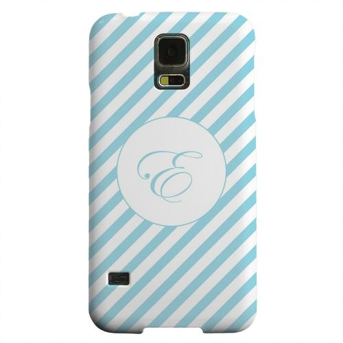 Geeks Designer Line (GDL) Samsung Galaxy S5 Matte Hard Back Cover - Calligraphy Monogram E on Mint Slanted Stripes