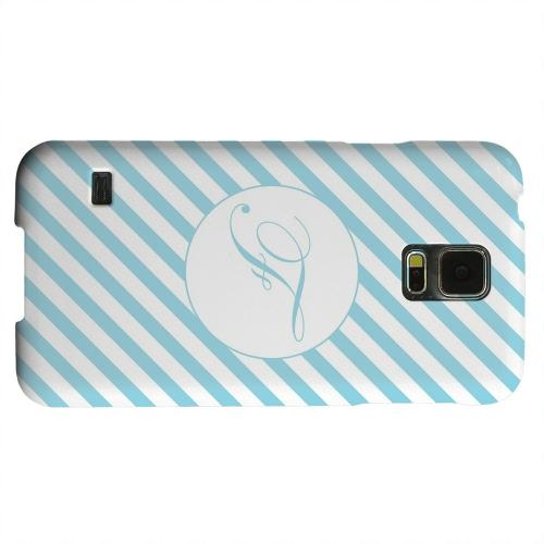 Geeks Designer Line (GDL) Samsung Galaxy S5 Matte Hard Back Cover - Calligraphy Monogram F on Mint Slanted Stripes